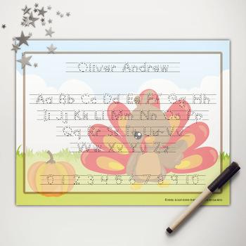 Little Turkey Printable Abc Print Writing Mat