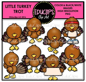 Little Turkey Trot Clip Art Bundle {Educlips Clipart}