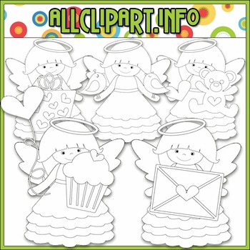 BUNDLED SET - Little Valentine Angels Clip Art & Digital Stamp Bundle