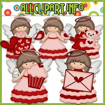 BUNDLED SET - Little Valentine Angels Clip Art & Digital S