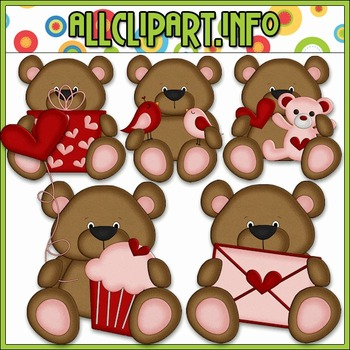 BUNDLED SET - Little Valentine Bears Clip Art & Digital Stamp Bundle