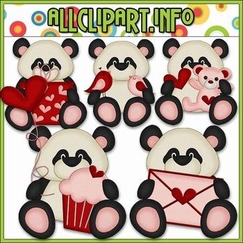 BUNDLED SET - Little Valentine Panda Bears Clip Art & Digital Stamp Bundle