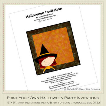 Little Witch 2 Printable Halloween Party Invitation 1