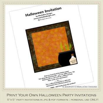Little Witch 2 Printable Halloween Party Invitation 2