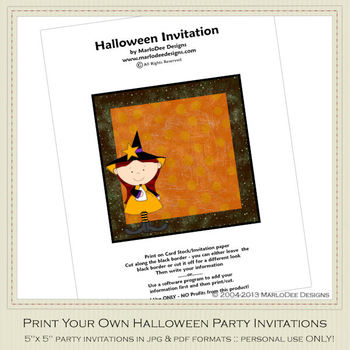 Little Witch 2 Printable Halloween Party Invitation 3