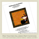 Little Witch 2 Printable Halloween Party Invitation 4