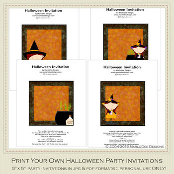 Little Witch 2 Printable Halloween Party Invitation Set