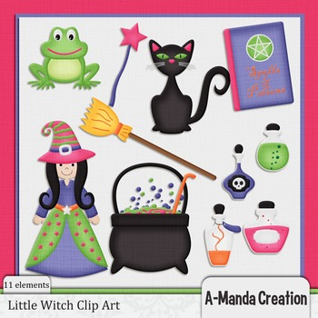 Little Witch Halloween Clip Art