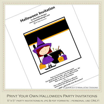 Little Witch Printable Halloween Party Invitation 1