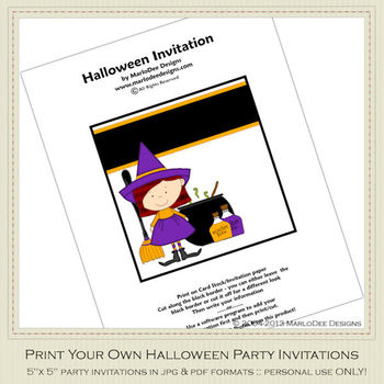Little Witch Printable Halloween Party Invitation 2