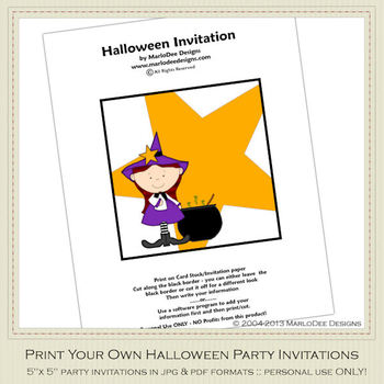 Little Witch Printable Halloween Party Invitation 3