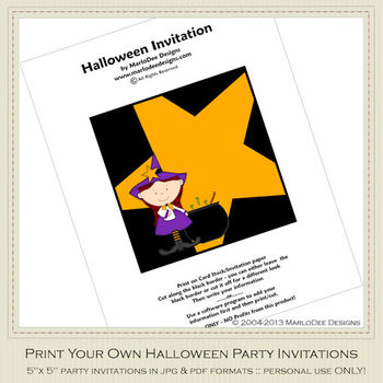 Little Witch Printable Halloween Party Invitation 4
