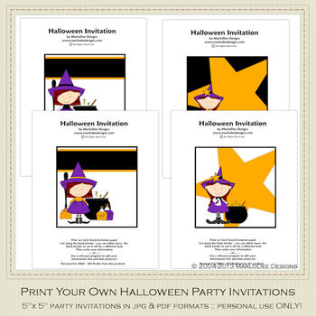 little witch printable halloween party invitation set by marlodee