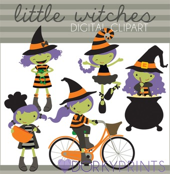 Little Witches Halloween Clip Art Set