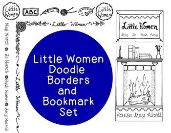 Little Women Doodle Borders Bookmark Novel PNG JPG Blackline Commercial Personal