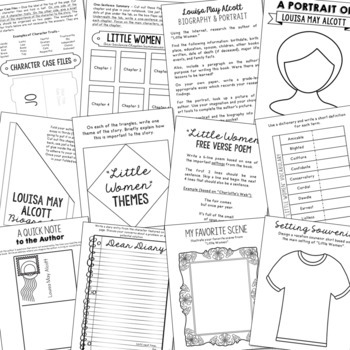 Little Women Interactive Notebook Novel Unit Study Activities, Book Report