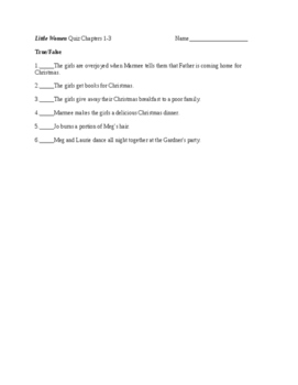 Little Women by Louisa May Alcott Tests and Activities