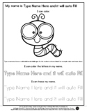 Little Worm - Name Tracing & Coloring Editable Sheet - #60