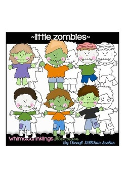 Little Zombies Halloween Clipart Collection