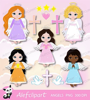 Little angels Girls digital Clipart.  For Personal and Commercial use