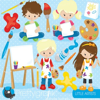 Little artists clipart commercial use, graphics, digital clip art - CL908
