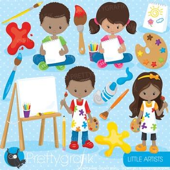 Little artists clipart commercial use, graphics, digital clip art - CL915