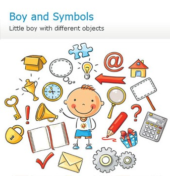 Little boy and different symbols and objects