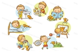 Little boy's and girl's daily activities
