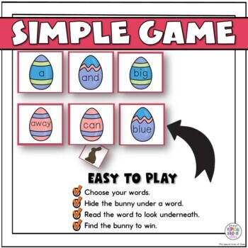Little bunny Sight Word Game Pre-Primer List
