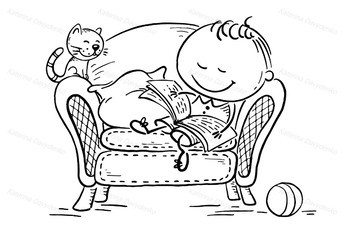 Little child reading a book in an arm-chair with his cat