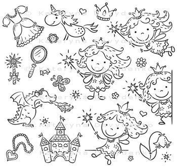 Little fairy set with a castle, unicorn, dragon and accessories