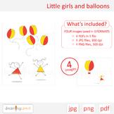 Little girls clip art. Flower, balloons, hot air balloon, spring, easter, summer