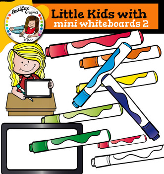 Little kids with Mini Whiteboards 2 clip art -Color and B&W- 27 items!