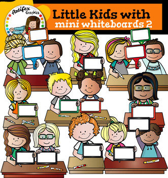 Little kids with Mini Whiteboards 2 clip art -Color and B&