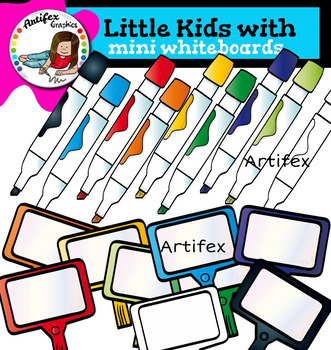 Little kids with Mini Whiteboards clip art -Color and B&W- 34 items!