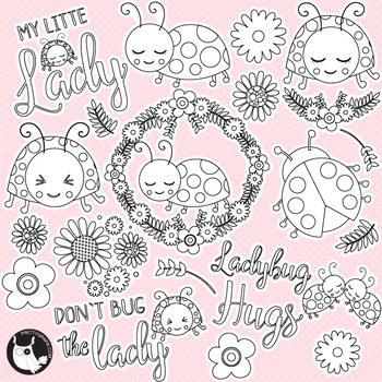 Little ladybug stamps commercial use, vector graphics, images  - DS1162