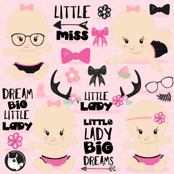 Little lady clipart commercial use, vector graphics  - CL1110