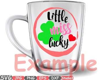 Little miss lucky Silhouette SVG green St Patricks shamrock svg irish svg 744s