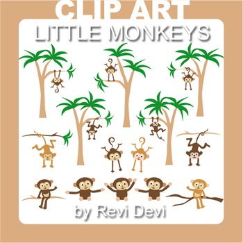 Monkey and palm trees clip art