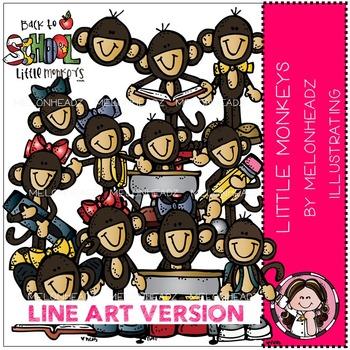 Little monkeys clip art - LINE ART- by Melonheadz