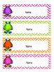 Little monster tray / peg labels - editable