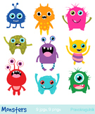 Little monsters clip art, Cute rainbow monsters clipart, A