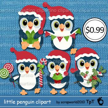 Little penguin Christmas clipart