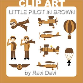 Little pilot in brown clip art 13016 (teacher resource) vintage airplanes