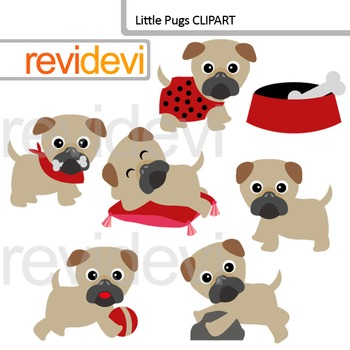 Little pugs clip art