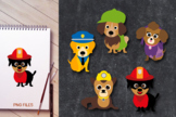 Little squad dog clip art - doggies in costumes