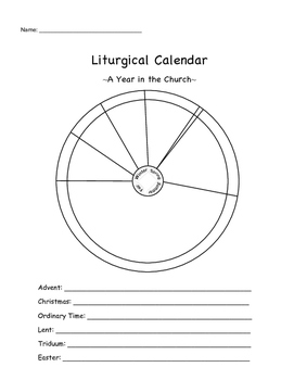 catholic liturgical year coloring page - liturgical calendar worksheet by megan brackemyer tpt