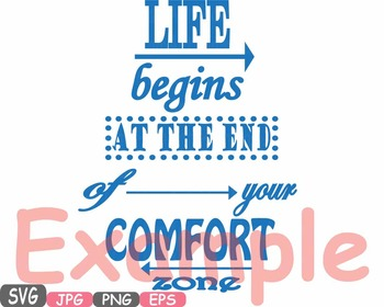 Live Begins At the End of your Comfort zone Word Art clipart love Quote -495s