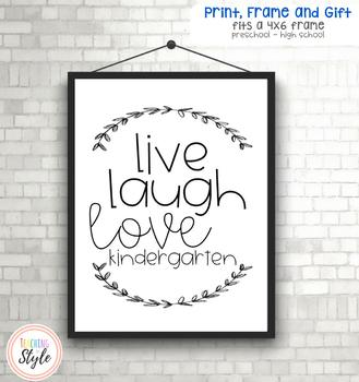 Live Laugh Love Teacher Gift Quote Printable