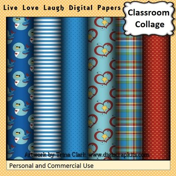 Live Love Laugh Blue and Red Digital Papers Set Color  personal & commercial use
